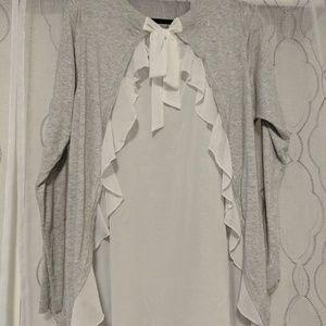 Torrid grey & white chiffon ruffled back sweater